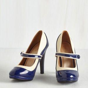 Mod Cloth Mary Jane Classy Indeed Heel in Navy